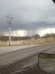 rain shaft from thunderstorm